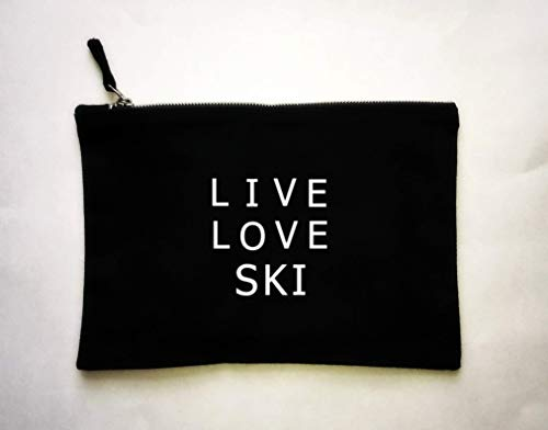 Ski Toiletry Bag, Live Love Ski Pouch, Gift for Skier