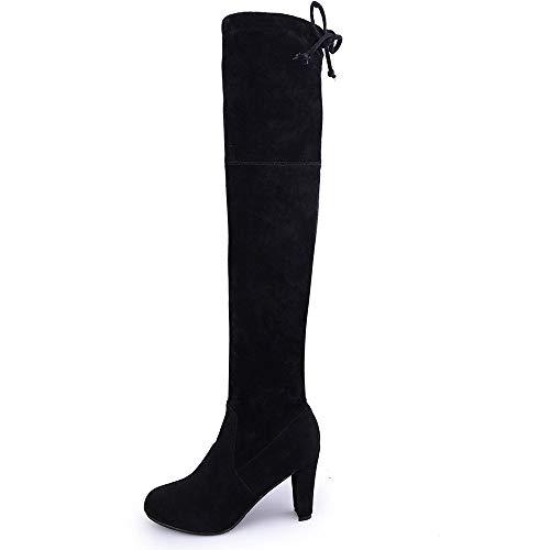MEHOUSE Bottes Femme,Bottes Cuissardes Femme Bottes à Talons Hauts Femmes Bottes Pointues en Cuir Mat glissière épaisse avec des Bottes Hautes Minces Stretch Hiver Automne Genoux Boots Rouge