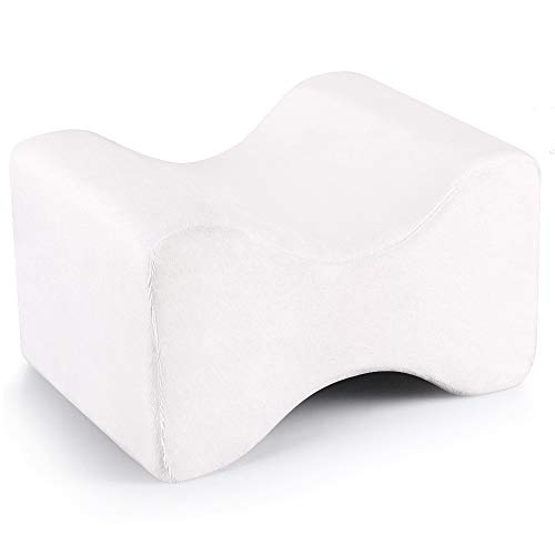 YXIUER Sciatic Nerve Pain Relief Knee Pillow - Best for Pregnancy, Hip, Leg, Knee, Back and Spine Alignment - Memory Foam Orthopedic Leg Wedge Pillow with Washable Cover,White