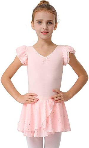 MdnMd Girls Ballet Leotard Dance Ballerina Dress Petal Sleeve Glitter Tutu Skirt Ballet Pink product image