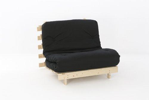 Comfy Living 3ft Single (90cm) Wooden Futon Set with PREMIUM Black Mattress