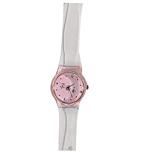 iuNWjvDU Personalidad Transparente Reloj de Pulsera Transparente Reloj Creativo Diseño Reloj Encantador Rosa Rosa Mira para niñas, Regalos para Amigos y colegas