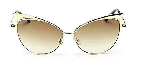 Lovelegis Gafas de sol para mujer - espejo - marrón - vintage - gato con - montura de ojo de gato - metal - color dorado - polarizado uv 400 - idea de regalo de cumpleaños