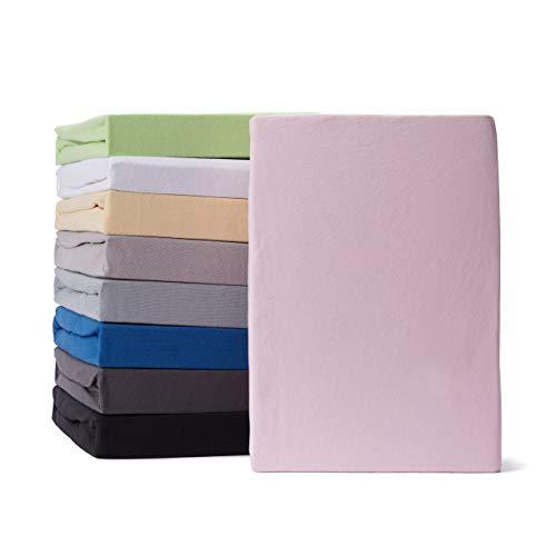Lumaland Comfort Jersey Spannbettlaken 100% Baumwolle mit Rundum-Gummizug 160g/m² 90 x 200 cm - 100 x 200 cm Rosa