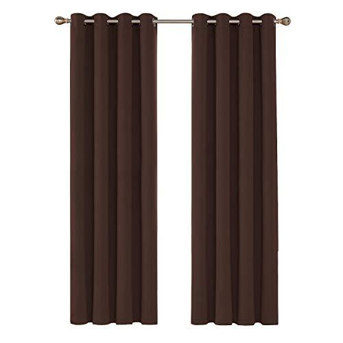 Deconovo Cortina Opaca para Habitación Dormitorio Moderno Térmica Aislante con Ojales 140 x 260 cm 2 Piezas Chocolate