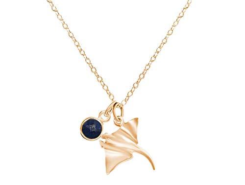 Gemshine Maritim Nautics Halskette mit Manta Rochen aus 925 Silber, hochwertig vergoldet oder rose im Navy Stil mit blauem Saphir – Made in Madrid, Spain, Metall Farbe:Silber vergoldet