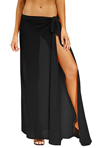 Yidarton Sarong Damen Sommer Strandkleider Bikini Cover up Kleid Chiffon Badeanzug Wickelrock Sexy Schal Badeanzug (2-Schwarz, 2XL)