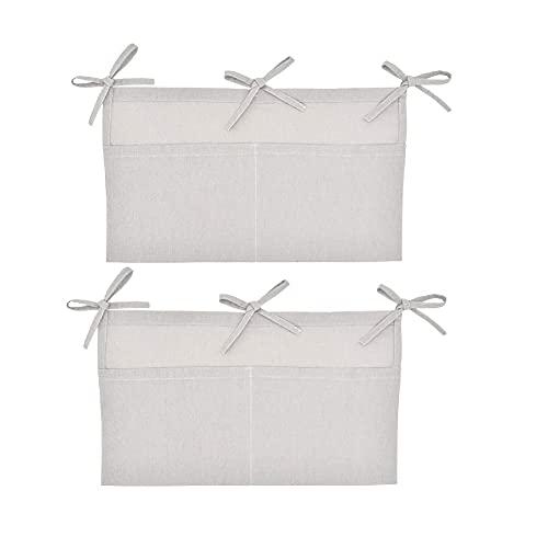 2 Stück Kinderzimmer Hängender Bett Organizer, Betttasche Spielzeugtasche Hängende Aufbewahrungstasche mit 2 Taschen Für Windel Spielzeug Kleidung