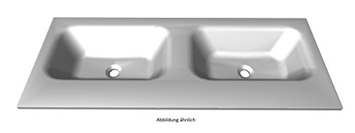 PELIPAL Solitaire 6110 Mineralmarmor Doppelwaschtisch, weiß/MMDWT 73-1210 / B: 120 cm