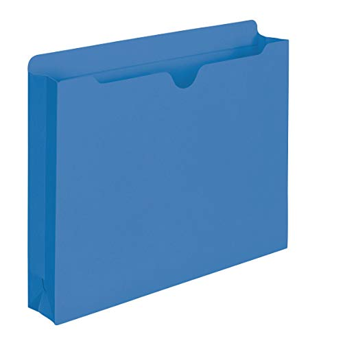 Smead File Jacket, Reinforced Straight-Cut Tab, 2' Expansion, Letter Size, Blue, 50 per Box (75562)