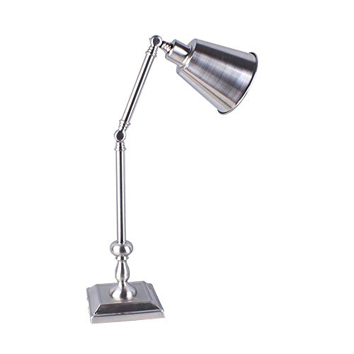Lámpara de mesa Tyxl Hardware De Estudio De Altura Regulable Característica Americana Simple Lámpara De Plata Moderna Lámpara De Hierro Metálico Anchura Los 25cm * 58cm De Alto