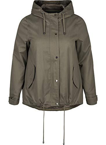 Zizzi Damen Große Größen Kurze Jacke mit Reissverschluss und Kapuze Gr 42-56