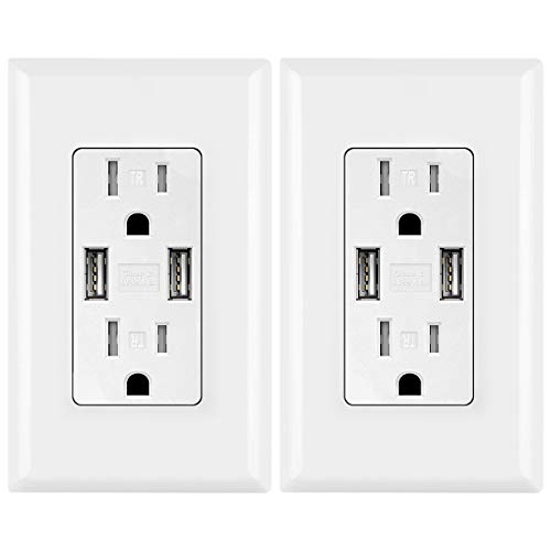 USB Outlet, Wall Charger Dual High Speed Duplex Receptacle 15 Amp, Smart 4.8A Fast Charging Capability, Tamper Resistant Outlet Wall Plate Included UL Listed White MICMI C48, 4.8A USB outlet 2pack