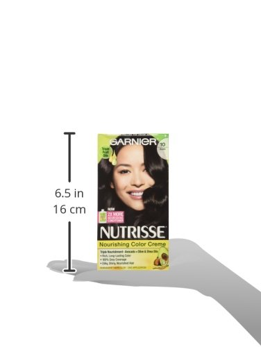 Garnier Nutrisse Nourishing Hair Color Creme, 10 Black (Licorice) (Packaging May Vary)