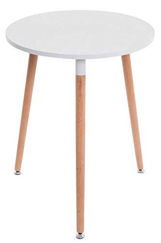 CLP Tavolino da Cucina Scandinavo Amalie in Legno I Tavolino Tondo Cucina Sala da Pranzo Ø 60 CM, Colore:Bianco, Colore della Cornice:Natura