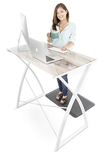 Stand Steady Joy Desk | Multifunctional Standing Table | Modern Glass Top with Wood Print Design | Pretty Standing Desk with Spacious Desktop for Home, Office & More (Wood / 43 x 23)