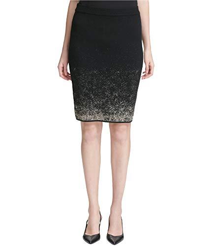 Calvin Klein Womens Metallic Pencil Skirt, Black, Medium