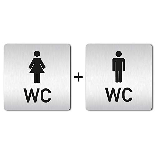 Kinekt3d Leitsysteme XXL WC Schilder Toilettenschilder 125 x 125 mm Set Damen WC + Herren WC Stabile Schilder aus 1,5 mm Aluminium Vollmaterial! • geschliffene Edelstahloptik • 100% Made in Germany