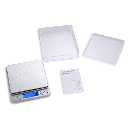 yurunn Báscula de Cocina Digital báscula electrónica Gran Superficie de pesaje iluminación Pantalla LCD Plata inglés 1 kg / 0.1g