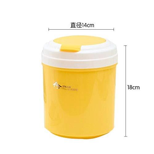 Sinzong Küchenabfalleimer Desktop Flip Mülleimer Haushalt Nachttisch Schminktisch Kleine Mülleimer Runde Gelb