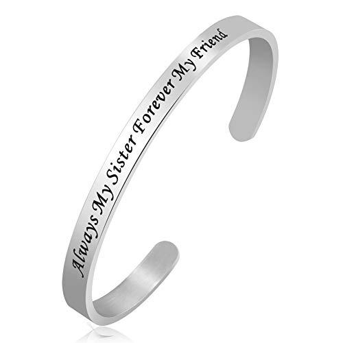 PoeticCharms Ermutigung Inspirational Zitate Manschette Armbänder Bangles Geschenke für Frauen Junge Freunde Schwestern Gravur Immer Meine Schwester für Immer Mein Freund