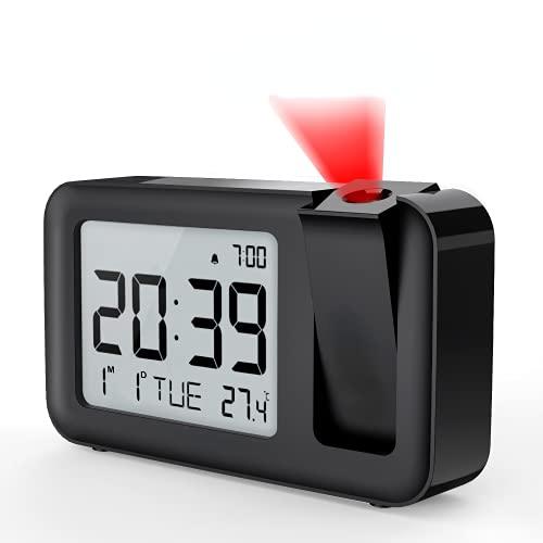 Wecker Digitaler Projektionswecker mit Innentemperatur 4 einstellbare Projektionshelligkeit, 2 Lautstärke,12 / 24 Stunden Einstellung für Schlafzimmer, Büro