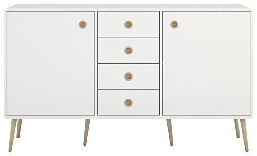 Steens Soft Line 030/50 Kommode Soft Line, Anrichte, Sideboard, Schrank mit 4 Schubladen und 2 Türen, (B/H/T) 153 x 89 x 40 cm, MDF, Weiß