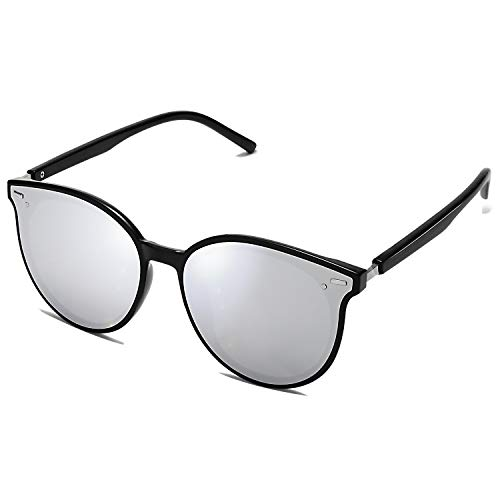 SOJOS Classic Round Retro Plastic Frame Vintage Large Sunglasses BLOSSOM SJ2067 with Black Frame/Silver Mirrored Lens