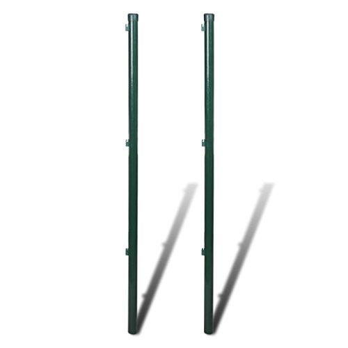 Galapara 2X Zaunpfosten Zaunpfahl Ø 34 mm Metall-Pfosten inkl. Drahthalter Pfahl Pfosten für Maschendraht Zaun zum Einbetonieren Grün, 200 cm