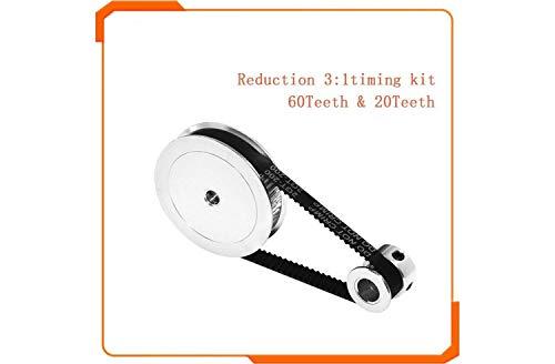 Shi-y-m-3d, Polea de Correa Dentada 60 Dientes 20 Dientes 5 mm / 8 mm Reducción 3: 1/1: 3 Ancho de Correa 6 mm for Accesorios de Impresora 3D (tamaño : 20T5 60T5 280mm)