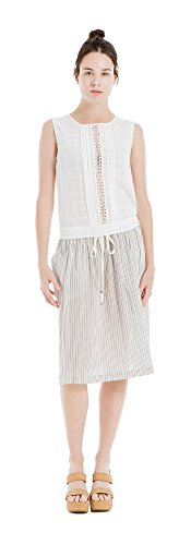 Max Studio Womens Pintuck Pleat Lace Inset Tank Top White S