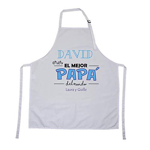 Kembilove Delantal Personalizado Ajustable Eres el Mejor Papá del Mundo - Delantales para Padre, Abuelo con Nombre Personalizado - Regalo Original Padres, Cumpleaños