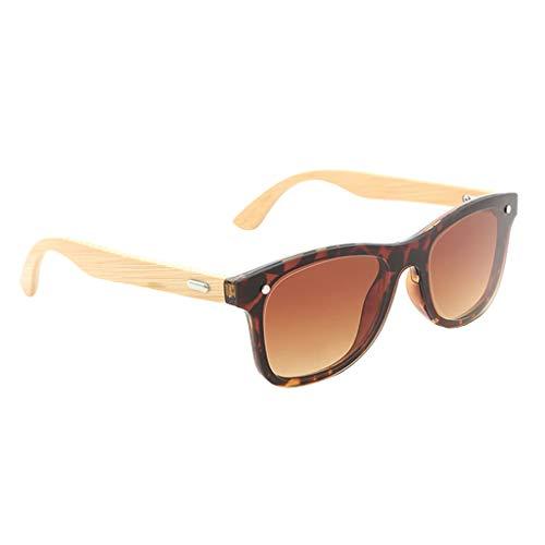 Bonarty Gafas de Sol Vintage Rectangulares de Madera Que Conducen Gafas Al Aire Libre para Hombres/Mujeres - Té