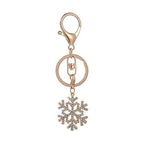 Ostory キーホルダー 可愛い キラキラ 雪の花 レディース バッグ チャーム キーチェーン キーケース キーリング アクセサリー