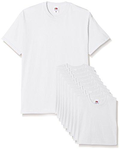 Fruit of the Loom Mens Original Pack, T-Shirt Uomo, Bianco, Large