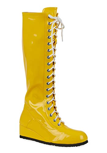 Fun Costumes Mens Yellow Wrestling Boots Size 11