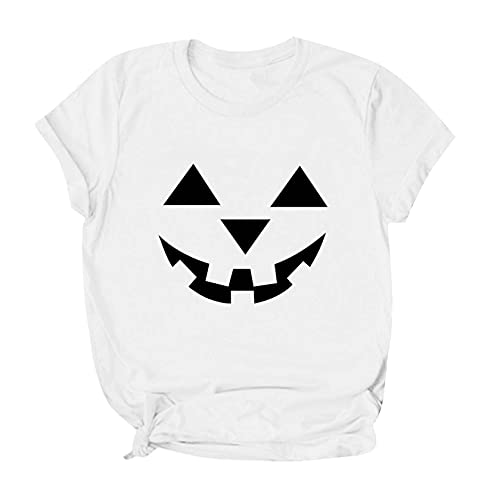 CarJTY Camiseta para Mujer de Halloween 2021, Camiseta de Manga Corta con Estampado de Bruja Espeluznante, Camiseta de Manga Corta, Top de Cuello Redondo Disfraces temáticos de Halloween