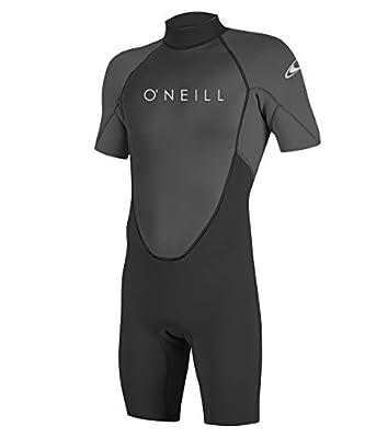 O'Neill Men's Reactor-2 2mm Back Zip Short Sleeve Spring Wetsuit, Black/Graphite, XL
