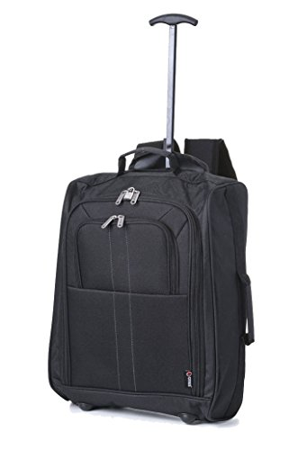 5 Cities Cabin Trolley Backpack Hand Luggage, 50 cm, 33.0 Liters, Plain Black