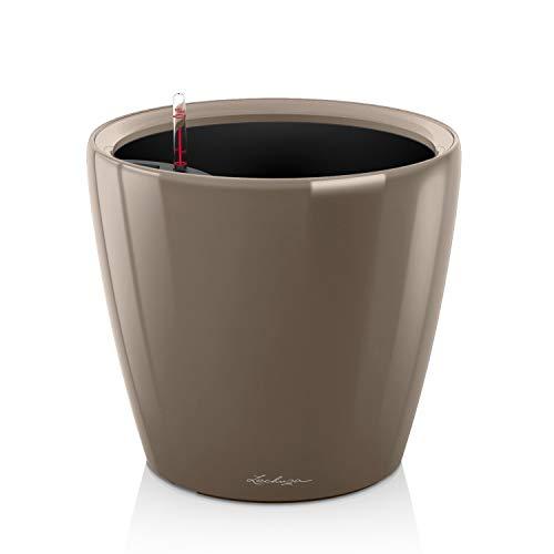 Lechuza 16065 CLASSICO Premium LS 35 Herausnehmbarer Pflanzeinsatz mit patentiertem Griffrahmen, Taupe Hochglanz, Hochwertiger Kunststoff, Inkl. Bewässerungssystem, Für Innenraumbegrünung