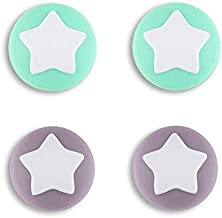 eXtremeRate PlayVital stjärndesign söt strömbrytare tumme greppkepsar, mörkgråviolett och mintgröna joystick-kepsar för Ni...