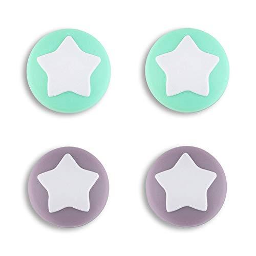 eXtremeRate PlayVital Agarres para el Pulgar para Nintendo Switch Joy-con Lite Tapas de Joystick con Estrella Thumb Grip de Silicona Tapas de Pulgar para Switch Lite joycons(Violeta Grisáceo+V