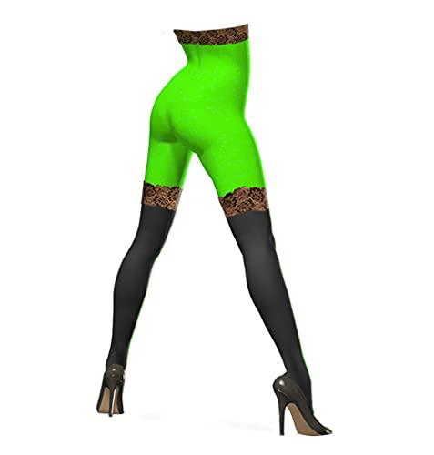 Pariser-Mode Medias de cintura alta para mujer, con encaje y pierna de encaje negro, 100 deniers, varios colores, verde oscuro, 5X-Large