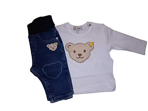 Steiff - Set de camiseta y pantalón vaquero (manga corta, talla 1/1),...