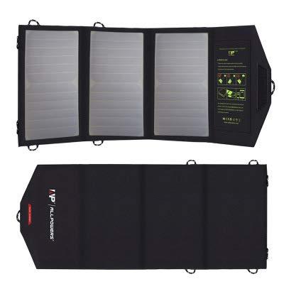 GPWDSN oplader op zonne-energie, 5 V, 21 W, zonnepaneel met twee USB-poorten, waterbestendig, opvouwbaar, voor mobiele telefoons, tablets, powerbank en camping, op reis