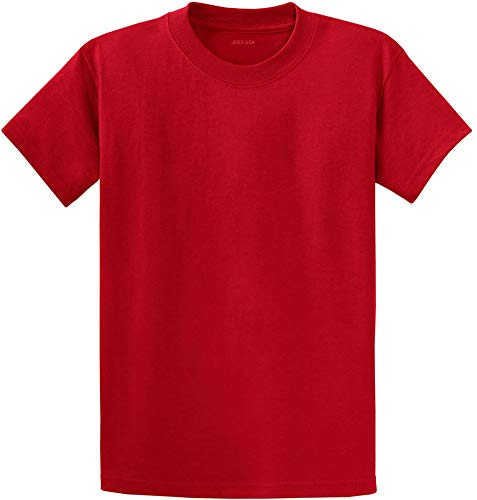 Joe's USA(tm) - Youth Heavyweight Cotton Short Sleeve T-Shirt in Size L,Red