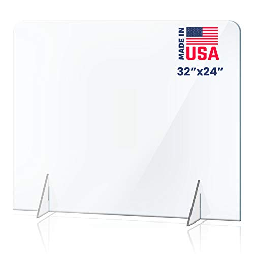 No Opening Sneeze Guard Panel for Counter and Desk, No Cutout Protective Plexiglass Shield, No Hole for Business, Office, School (32'W x 24'H)