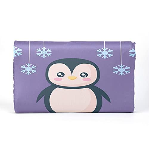 Almohada para niños pequeños con funda de almohada - 17 x 10 pulgadas Almohadas de látex de memoria suave para bebés para dormir pingüino con copos de nieve Vector de caracteres Lavable a máquina, ni