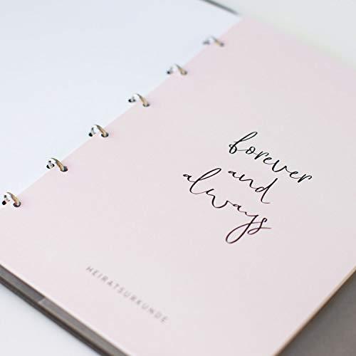 JO & JUDY Familienstammbuch | Hochzeit | Dunkelgrau mit Goldfolienprägung - 16,6 x 22 cm - 10 Inhaltsseiten - Froschtasche - 6-fach Ringmechanik - 2