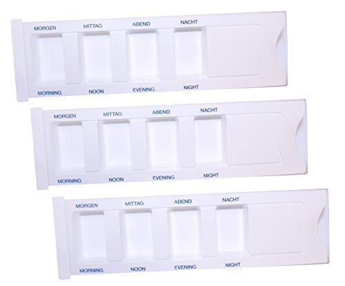 Medi-Inn Medikamentendispenser mit 4 Fächern | weiß Standard – 3 Stück | Tablettenbox zum Sortieren & Aufbewahren von Medikamenten